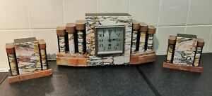 French Art Deco Marble Clock With Matching Garnitures (AF)