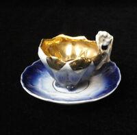 Vintage MINIATURE Victorian  FLOW BLUE Porcelain CUP & SAUCER Gold Interior