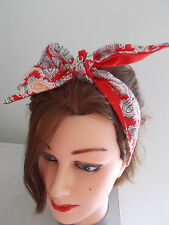 HEAD SCARF HAIR BAND PAISLEY ROCKABILLY RED LINED SWING BUNNY NECK BOW PIN UP