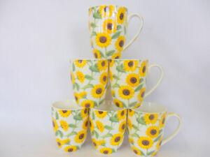 Set of 6 china mugs in Sunflower design aspen shape.