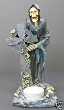 Grim Reaper Celtic Cross Tea Light Candle Holder Gothic Halloween Illuminary NIB