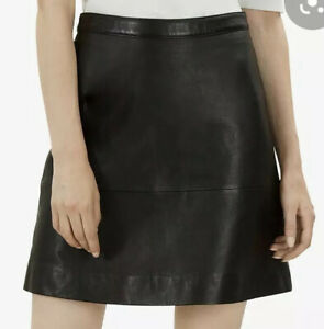 BNWT JAEGER BLACK LEATHER SKIRT A-LINE  OVER KNEE SOFT LEATHER SIZE 16  NEW £179