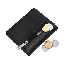 BISON DENIM Men's Genuine Leather Mini Wallet Coin Card Holder Pocket Purse (Bla