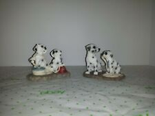 Dalmatian Dogs Playing With Fire Hose & Fireman Hat Figurine Young's Resin Pair