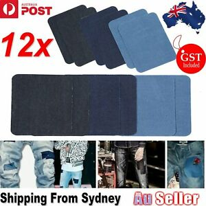 12pcs Assorted Iron On Denim Fabric Mending Patches Repair Kits For Denim Jeans