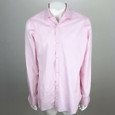 Borriello Napoli Pino Cotton Button Down Dress Shirt Stripe Pink - 17 / 43 Cm