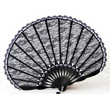 Summer Vintage Black Lace Bamboo Hand Held Fan Party Dancing Wedding Fan