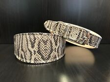 Leather Dog Collar LINED Greyhound Lurcher Whippet Saluki GREY SNAKE Print Uk