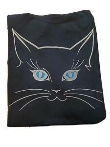 BLACK cotton Graphic tee- CAT tshirt , size XL