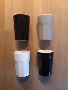 ASA Set 4 Becher Espressobecher Espressotassen 8,5 cm hoch schwarz weiss grau