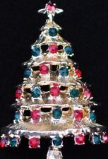 "NIB MONET GOLD TONE RED GREEN RHINESTONE CHRISTMAS TREE STAR PIN BROOCH 2.50"" 3D"