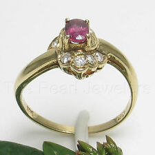 14k Solid Yellow Gold Genuine Diamonds, Natural Red Oval Ruby Solitaire Ring TPJ