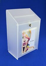 Collection Box Suggestion Box - Frosted Acrylic Lockable - PDS9463 Frosted