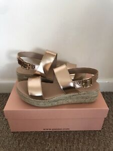 Office Rose Gold Leather Wedges Size 5