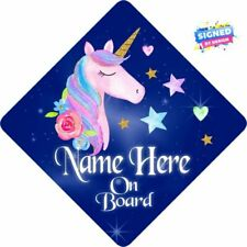 Personalised Unicorn Floral Child/baby on Board Car Sign Dark Blue & Pink 3