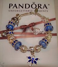 Authentic Pandora Silver Bracelet with Blue/White European Charms NEW