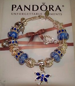 Authentic Pandora Sterling Silver Bracelet with Blue/White European Charms NEW