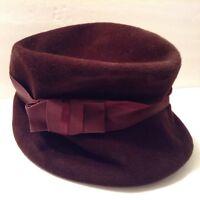 Vintage 1950s Peachbloom Velour Merimac Body Brown Hat with Ribbon- Fur Felt