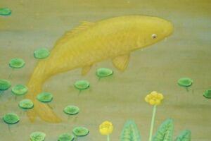 "JAPANESE CARP HANGING SCROLL 53.3"" Painting lotus Gold Antique Japan AGED c122"