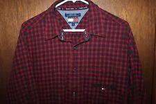 Vintage Tommy Hilfiger Plaid Shirt Sz Large Red Button Down Spellout Flag Mens