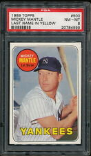 MICKEY MANTLE 1969 TOPPS YANKEES CARD #200 PSA 8 *CLEAN*