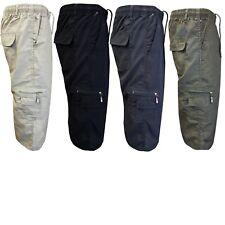 Mens Summer Elasticated Long Shorts Cotton Plain Cargo Combat Multi Pockets