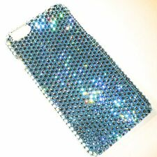 For iPhone X - Aqua Light Blue Rhinestone Back Case made w/ Swarovski Crystals