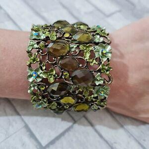 Huge Statement Bangle Bracelet Bendy Metal Enamel Flowers Green Rhinestones Cuff