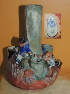 "Japanese Sumida Gawa Vase 7""+ children climbing rocks drip glaze Ishiquro Koko"