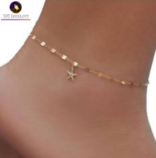 1a3bb3faa59 24CT Gold StarFish Charm Anklet Long Chain Dangal Beach jewellery Jewelry