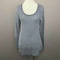 Simply Vera Vera Wang Size XS Scoop Neck Sweater Navy 3/4 Sleeve Cotton Blend