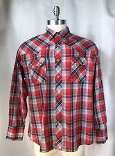 Wrangler Western Fashion Pearl Snap Red Plaid L/S Men's XL Shirt