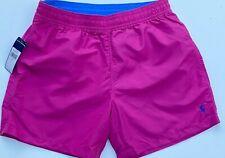 Polo Ralph Lauren Men M Hawaiian Swim Trunks Shorts Magenta Pink NEW