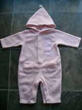 Baby Girl's Pink & White Hooded Polar Fleece Coverall Size 0 VGUC