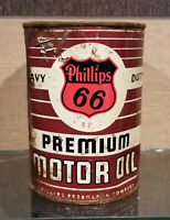 1940S BROWN PHILLIPS 66 SIXTY-SIX HEAVY DUTY ONE ONE QUART OIL CAN