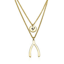 Wishbone Necklace - Initial Layered Necklace Gold Plated Good Luck Pendant
