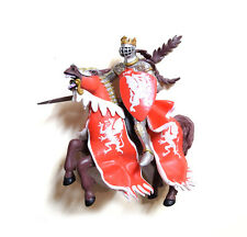Papo Word of Knights Tournament Silver Armor Knight With Red Horse Figurine