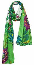 Indian Long Stole Green Shawl Floral Hand Printed Dupatta Cotton Scarf Neck Wrap