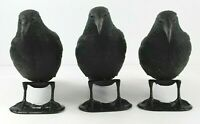 Crow Hunting Decoy Lot of 3 Full Body Trap Feet Stand/Stick Raven Garden Decor