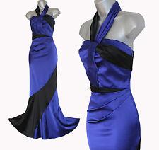 Karen Millen Blue Black Satin Halterneck Low Open Back Fishtail Maxi Dress 10 38