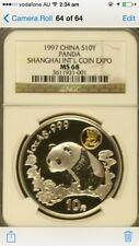 1997 china shanghai expo panda ngc ms68 silver coin
