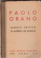 Paolo Orano Saggio critico di Alberto Del Donno 1936  Pinciana 6342