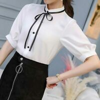 Chiffon Shirt Top T-Shirt Short Sleeve Women Summer Ladies Loose Blouse Fashion