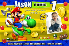 SUPER MARIO BROS BIRTHDAY PARTY INVITATION PHOTO BROTHERS yoshi 1ST - C6
