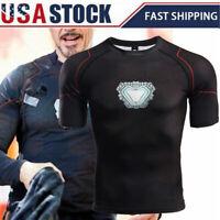 Avengers Infinity War Iron Man Tony T-Shirt Sports Compression Tee Halloween