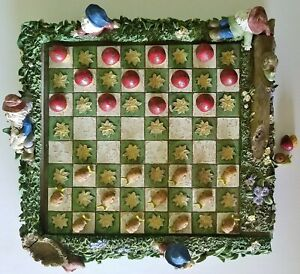 Vintage Checker Set Elves on Board Edges Pieces are Snails & Toadstools Molded