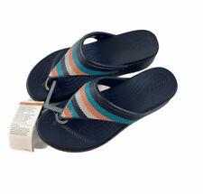 Crocs Monterey Bead Wedge Sandals Womens Size 8 Navy Blue