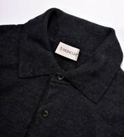 MONCLER Charcoal Grey Fine Merino Blend Wool Pullover Polo Shirt Sweater Small