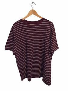 Simply Styled Shirt XL Maroon White Stripes Crew Neck Cotton