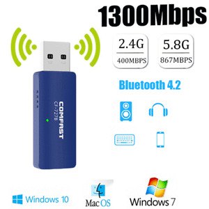 1300Mbps 2.4/5GHz Wireless Network USB WiFi Bluetooth Adapter Dongle PC Laptop